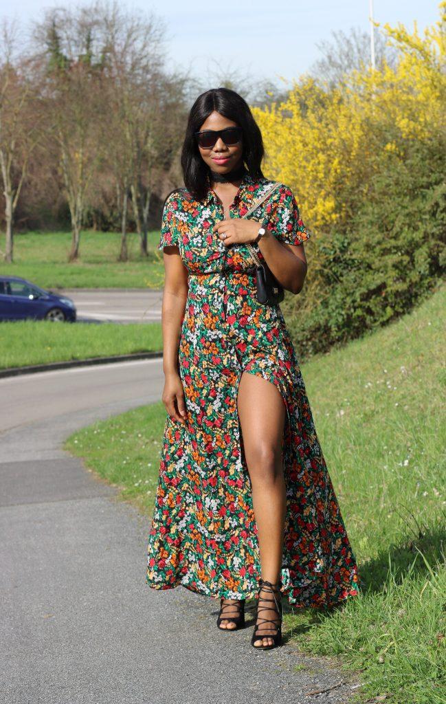 La robe longue fleurie
